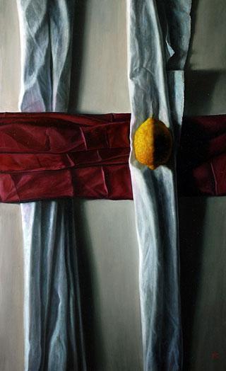 miniatura Linea rossa olio su tela 50x80 2008